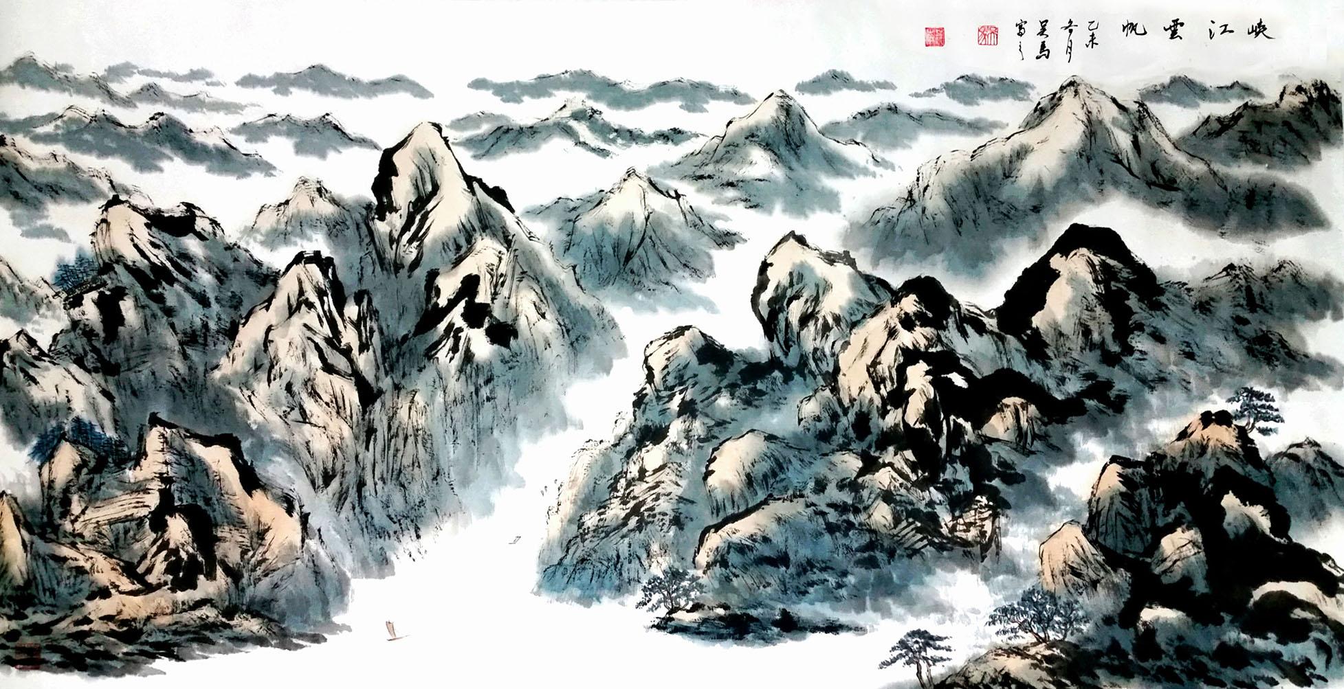 峡江云帆 画家吴马作品